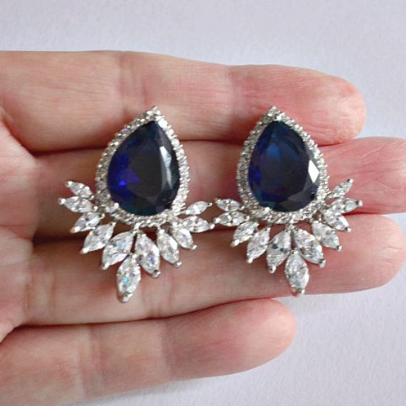 blue CZ crystal teardrop marquise wedding stud earrings