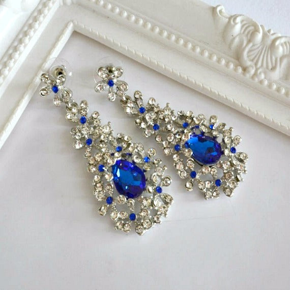 blue crystal rhinestone earrings