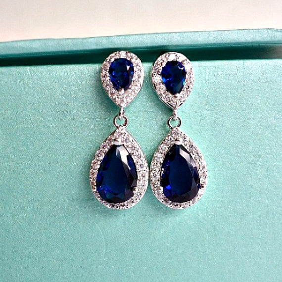 blue sapphire teardrop bridal earrings