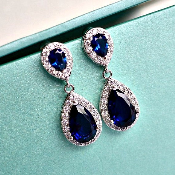 navy blue sapphire CZ crystal wedding earrings