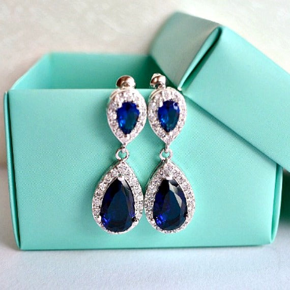 something blue crystal bridal earrings