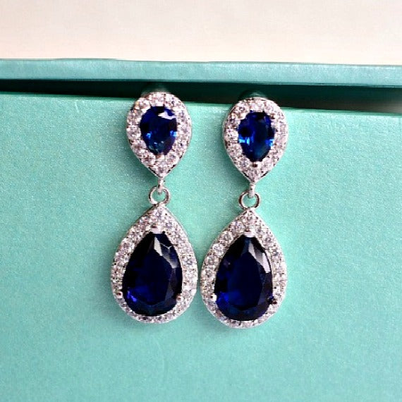 blue bridesmaids earrings