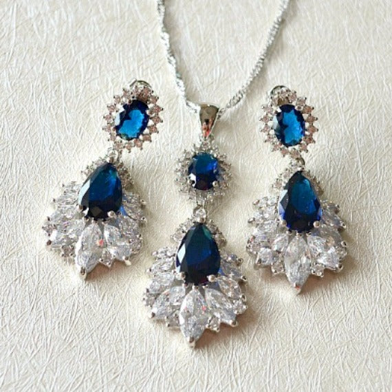 Marquise Sapphire Blue Wedding Jewelry Set. Cubic Zirconia Blue Bridal Jewelry Set. CZ Crystal Wedding Necklace Set. Bridesmaid Jewelry Set