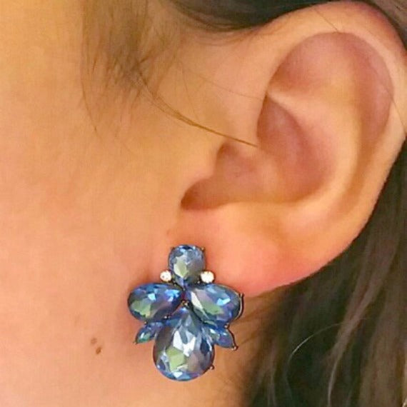blue crystal cluster stud prom earrings