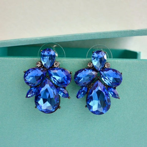 blue sapphire crystal cluster bridal earrings