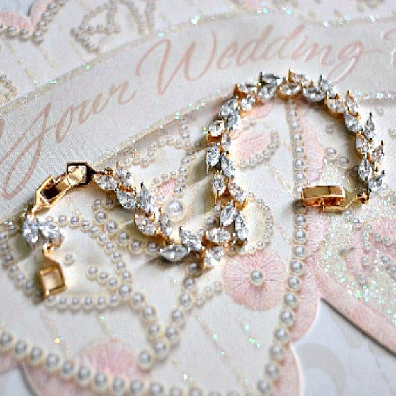 Two Tone 18K White Gold/Gold Plated Cubic Zirconia Bridal Bracelet. CZ Leaf Tennis Bracelet. Crystal Wheat Bracelet. Crystal Wedding Jewelry