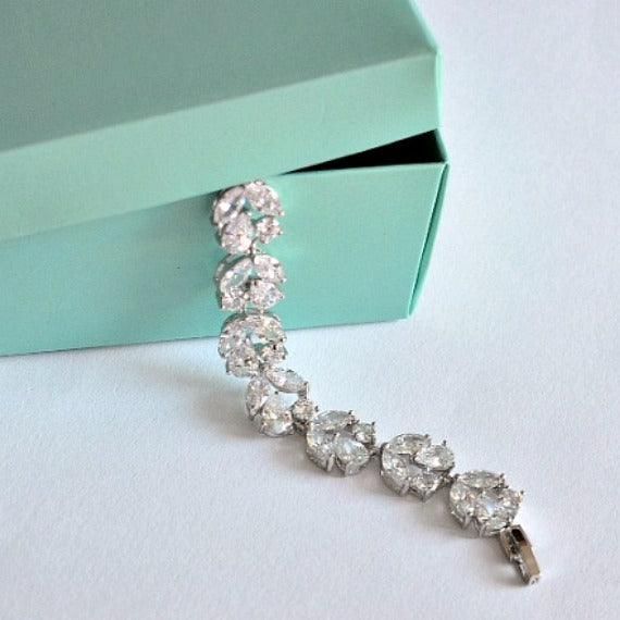 Cubic Zirconia Bridal Bracelet, CZ Crystal Wedding Bracelet, Link Rhinestone Tennis Bracelet, Bridesmaid Bracelet, Wedding Accessories