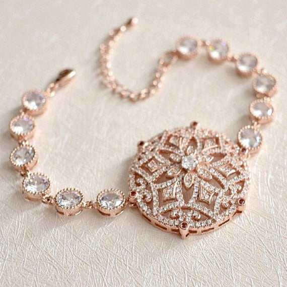 Rose Gold Micro Pave CZ Crystal Bridal Bracelet. Rose Gold Art Deco Wedding Bracelet. Vintage Style Wedding Bracelet. Blush Wedding.
