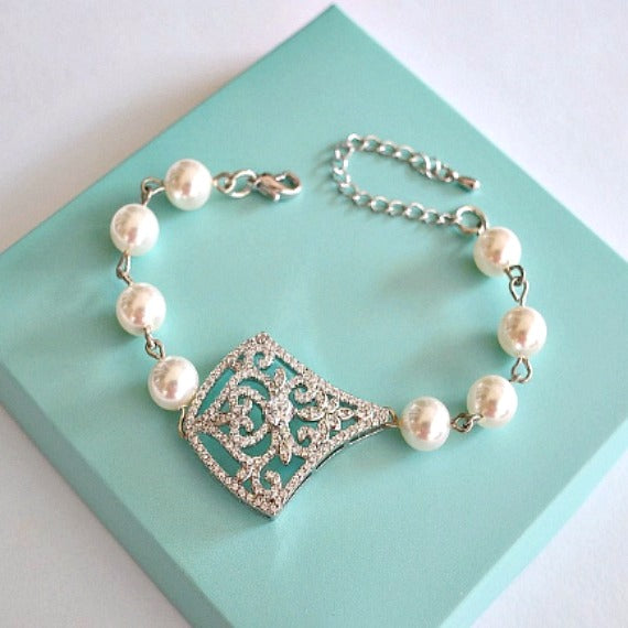 Rhombus Crystal Filigree Swarovski Pearls Bridal Bracelet. Art Deco Vintage Style Kite Shape Crystal Pendant Wedding Bracelet.