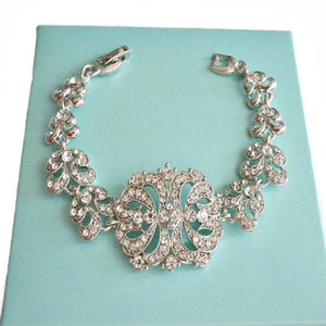 art deco baguette rhinestone wedding bracelet