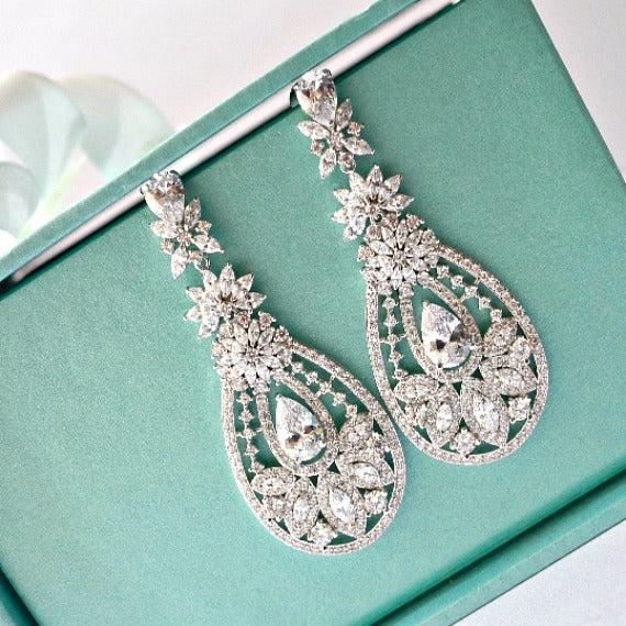 Floral Art Deco Cubic Zirconia Crystal Chandelier Bridal Earrings, Vintage Inspired Statement Wedding Earrings, Bridal Wedding Jewelry