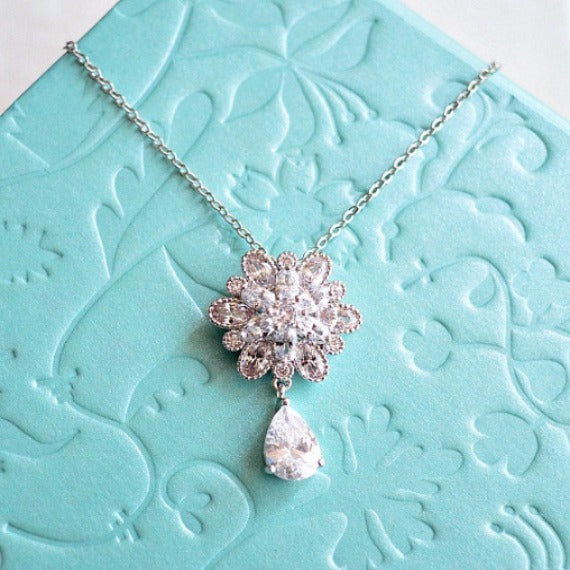 Clear White Cubic Zirconia Flower Drop Necklace. Marquise Cut Flower Charm Bridal Necklace. Wedding Necklace. Bridesmaid Necklace.