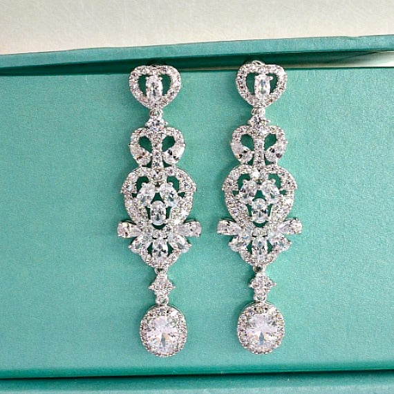 white gold wedding earrings