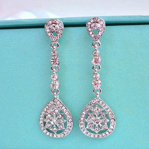 Long Art Deco Bridal Earrings. Vintage Inspired Art Nouveau Crystal Drop Wedding Earring. Rhinestone Chandelier Teardrop Earrings.