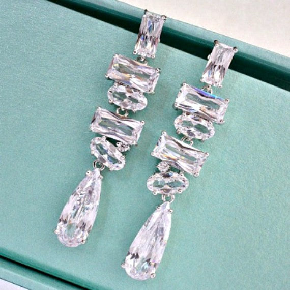 Geometric Cubic Zirconia Bridal Earrings, Multistone Crystal Chandelier Wedding Earrings, Crystal Dangle Earrings, CZ Bridal Jewelry