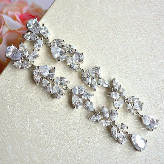 long crystal chandelier bridal earrings
