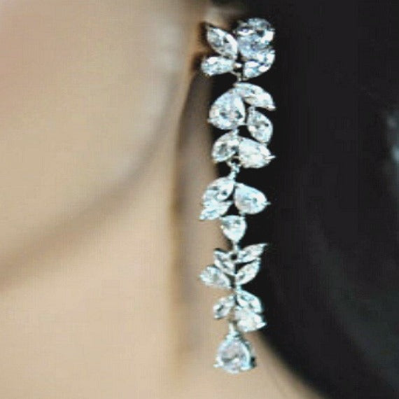 CZ crystal long vine earrings