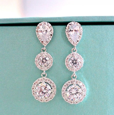 Bridal Earrings. Halo Clear Long Cubic Zirconia Drop Post Earrings. Bridal Drop Dangle Earrings. Bridesmaid Earrings. Wedding Earrings