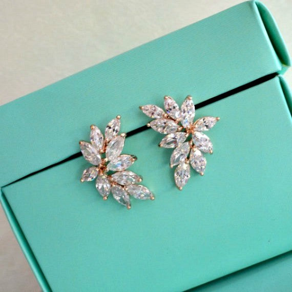 bridal leaves ear studs
