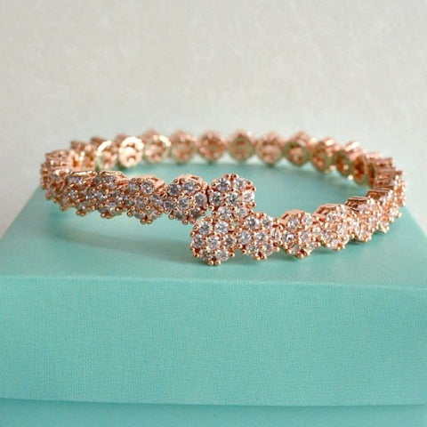 Rose Gold Cubic Zirconia Daisy Floral Bridal Bangle Bracelet, CZ Crystal Flower Garland Wedding Bracelet, Eternity Cuff Bangle Bracelet