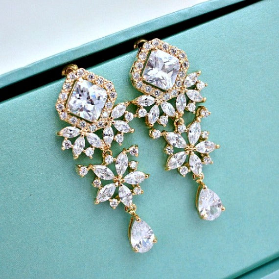 Gold Princess Cut Flower Cubic Zirconia Crystal Earrings. Chandelier Wedding Earrings. Wedding Jewelry. Bridesmaid Earrings. Bridesmaid Gift