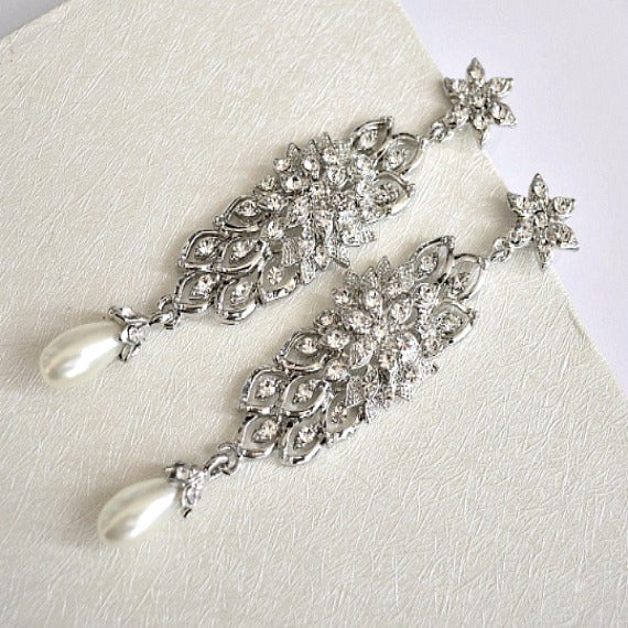 Long Bridal Earrings, Rhinestone Wedding Earrings, Pearl Crystal Chandelier Earrings, Pearl Rhinestone Dangle Statement Earrings