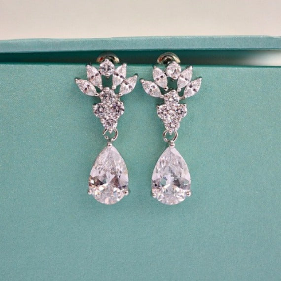 CZ drop wedding earrings