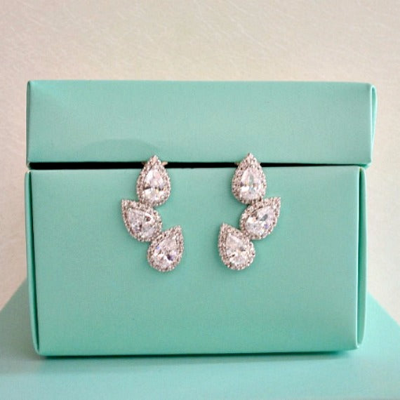 CZ art deco stud earrings