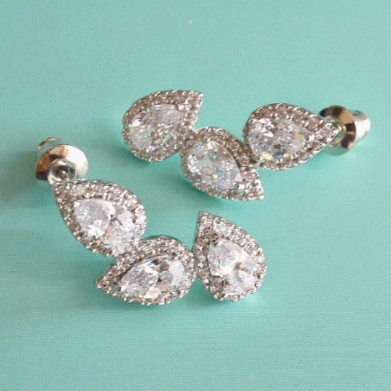 crystal stud bridal earrings