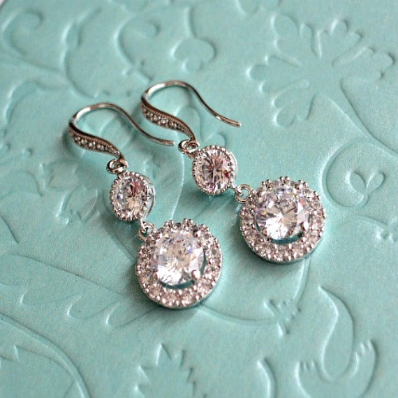 White Gold Halo Clear Long Cubic Zirconia Post Earrings. Round Solitaire Halo Cubic Zirconia Earrings. Bridal Drop Dangle Wedding Earrings.