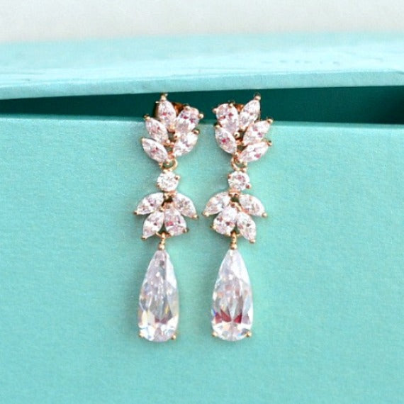 Bridal Drop Earrings. Rose Gold Cubic Zirconia Crystal Dangle Earrings. Floral Marquise Water Drop Crystal Earrings. Rose Gold Wedding.