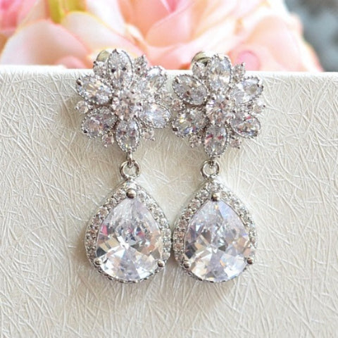 Bridal Teardrop Earrings. Cubic Zirconia Flower Post Clear White Round Cubic Zirconia Drop Earrings. Dangle Flower Earrings. Bridesmaid Gift