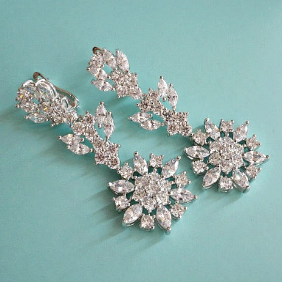 CZ crystal bridal earrings