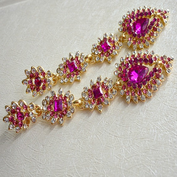 Gold Hot Fuchsia Pink Long Chandelier Earrings, Magenta Bridal Drop Earrings, Raspberry Pink Crystal Wedding Earrings, Pink Wedding