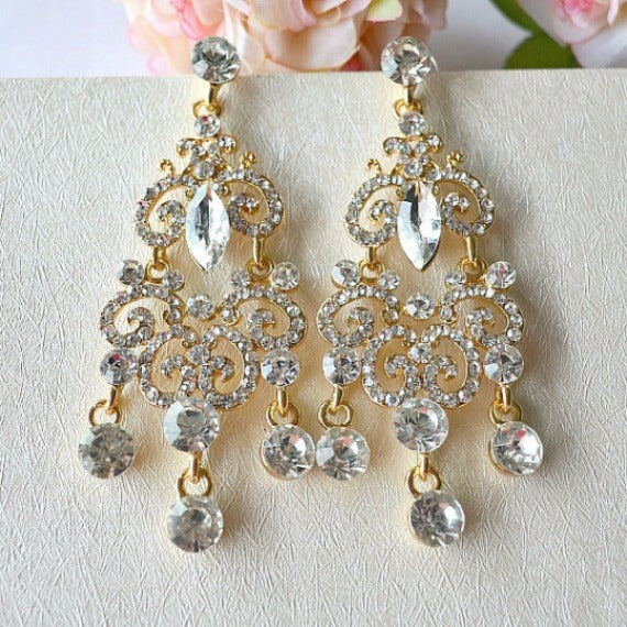 Gold Art Deco Crystal Long Bridal Chandelier Earrings. Rhinestone Wedding Earrings. Vintage Style Statement Bridal Earrings. Wedding Jewelry
