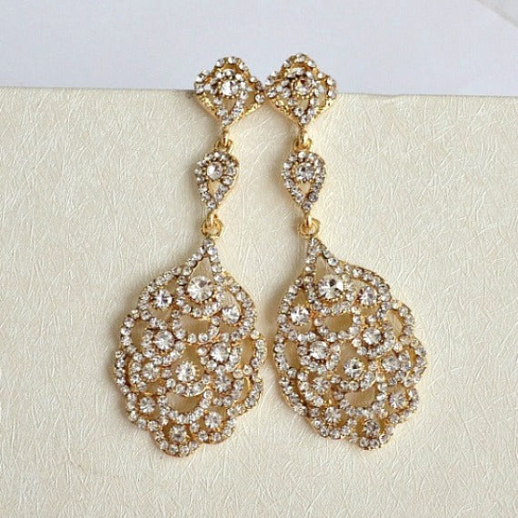 old hollywood bridal earrings