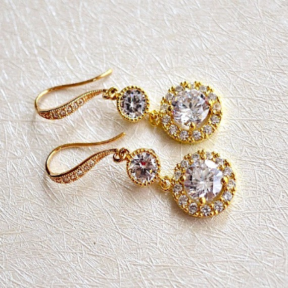 Gold Halo Clear Long Cubic Zirconia Drop Post Earrings. Round Solitaire Halo Cubic Zirconia Earrings. Bridal Drop Dangle Wedding Earrings.