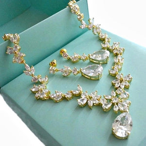 Gold Cubic Zirconia Bridal Jewelry Set. CZ Crystal Wedding Necklace Set. Gold Floral Vine Necklace Earrings Wedding Jewelry Set.