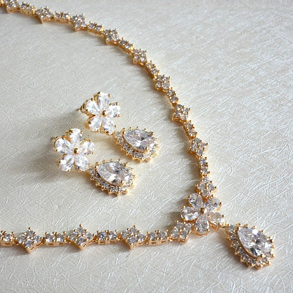 Floral Gold Cubic Zirconia Bridal Jewelry Set. CZ Teardrop Crystal Necklace Earrings Set. Gold Wedding Jewelry Set.