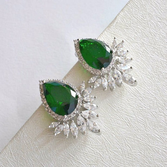 green emerald bridal crystal stud earrings