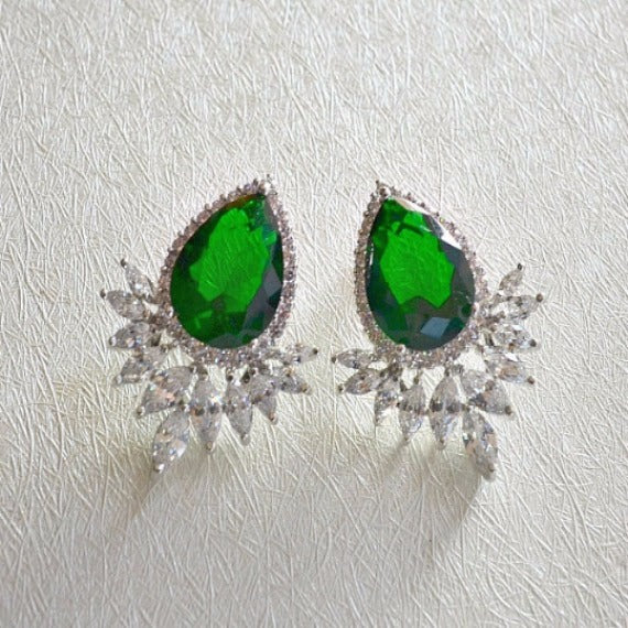 green marquise teardrop stud earrings