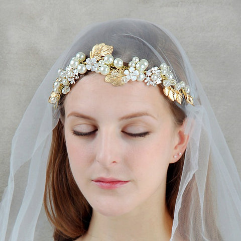 Vintage Gold Floral Leaves Bridal Hair Vine, Pearl Crystal Wedding Headpiece, Bridal Hairpiece Wreath, Bridal Headdress Hair Crown Tiara