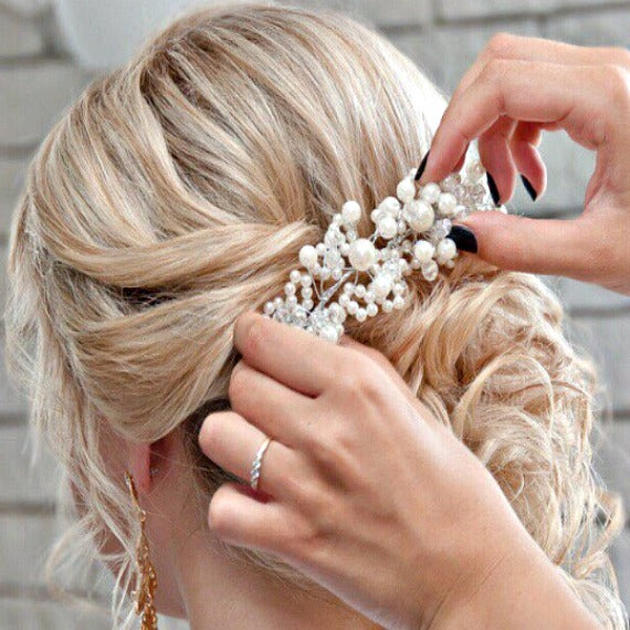 Bridal Headpiece, Pearl Crystal Wedding Hair Piece, Bridal Headdress, Bridal Decorative Comb, Hair Adornment, Wedding Hair Vine Accessory