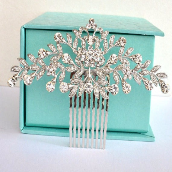 Vintage Style Art Nouveau Bridal Hair Comb, Rhinestone Crystal Wedding Hair Comb, Wedding Headpiece, Bridal Hair Piece, Wedding Hair Jewelry