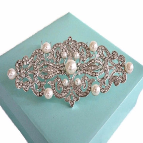 Rhinestone Pearl Bridal Hair Comb, Vintage Style Art Deco Crystal Wedding Hair Comb, Wedding Headpiece, Bridal Hair Piece, Hair Jewelry