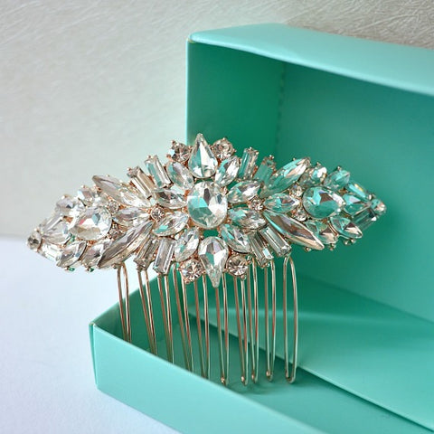 Rose Gold Crystal Bridal Hair Comb, Rhinestone Brooch Wedding Comb, Bridal Hair Accessories, Bridal Crystal Head Piece, Bridal Hair Piece
