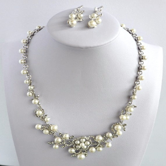 White Gold Rhinestone Pearl Wedding Jewelry Set Bridal Pearl