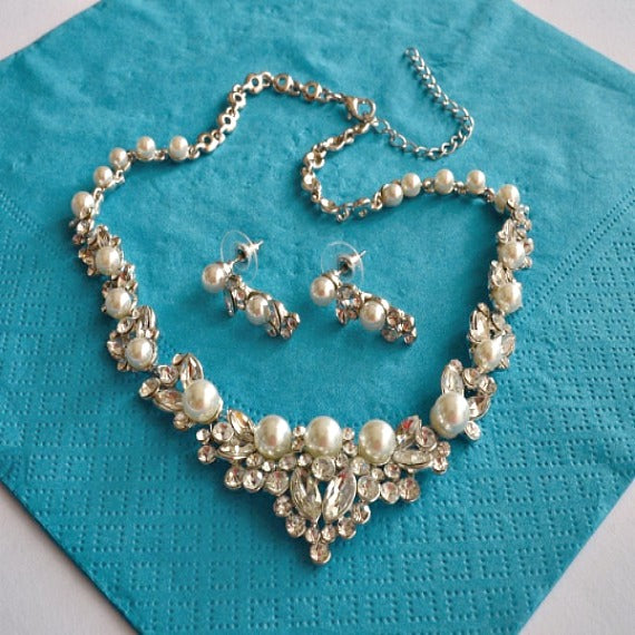 Pearl Rhinestone Bridal Jewelry Set. Wedding Jewelry Set. Pearl Crystal Wedding Necklace Earrings Set. Vintage Wedding Jewelry.