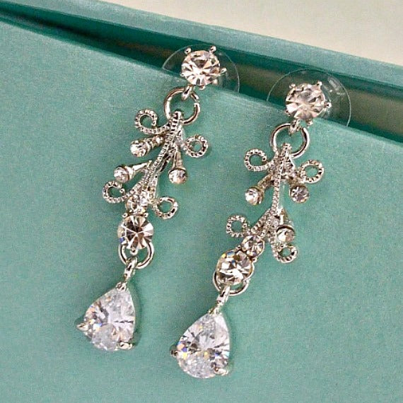 crystal vine bridal earrings set