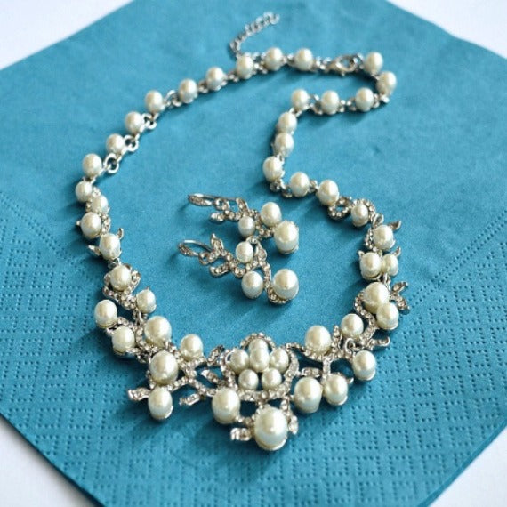 White Gold Rhinestone Pearl Wedding Jewelry Set. Bridal Pearl Jewelry Set. Bridal Earrings And Necklace Set. Bridesmaid Jewelry Set.